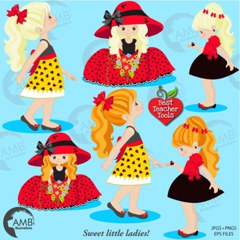 Ladybug Clipart, Girl Clipart in Red and Black {Best Teacher Tools} AMB-1056