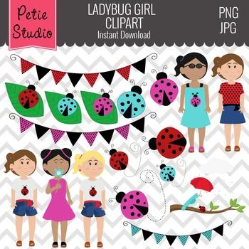 Ladybug Clipart // Ladybug Girls Clipart // Ladybug Banners - Spring100