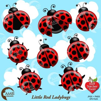 Ladybug Clipart, Red and Black Ladybugs Clip Art, {Best Teacher Tools} AMB-1060