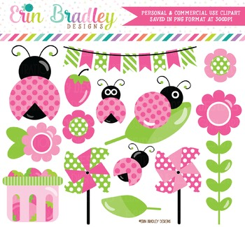 Ladybug Clipart in Pink Green and Black