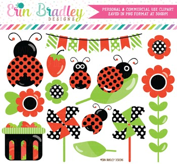 Ladybug Clipart in Red Green and Black
