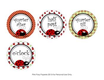 Ladybug Clock Number Labels