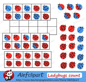 Ladybug Count Frames Clipart for Teaching & Learning