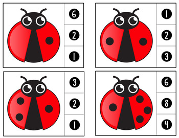 Count and Clip Cards - Lady Bugs