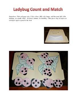 Ladybug Count and Match Folder Game
