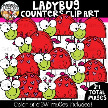 Ladybug Counters Clipart  {Valentine's Counting Clipart}