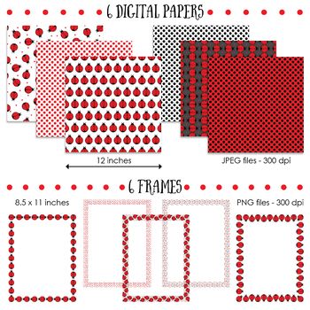 Ladybug Creative Set - Frames, Borders and Digital Papers