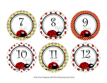 Ladybug Cubby Number Labels 1-30