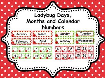 Ladybug Days, Months and Calendar