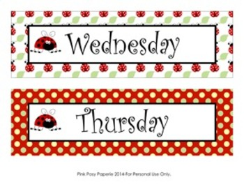 Ladybug Days of the Week Calendar Headers