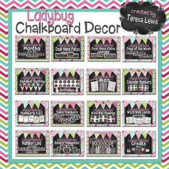 Chalkboard Classroom Decor Bundle (Ladybugs Optional)