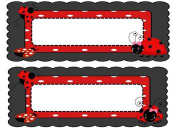 Ladybug Desk Tags- Editable