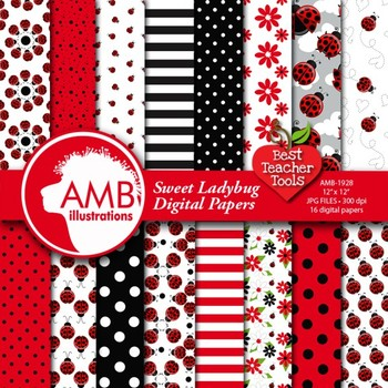 Ladybug Digital Paper, Insect Digital Backgrounds, {Best Teacher Tools} AMB-1928