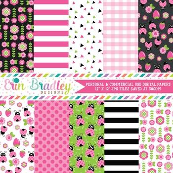 Ladybug Digital Paper Pack in Pink Green and Black