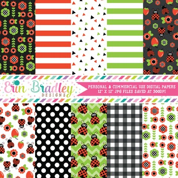 Ladybug Digital Paper Pack in Red Green and Black