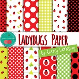 Ladybug Digital Paper - Spring Clip Art - Spring Digital Papers