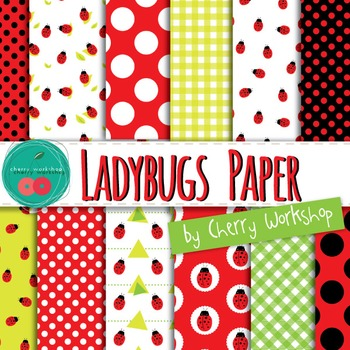 Ladybug Digital Paper - Spring Clip Art - Spring Digital Papers