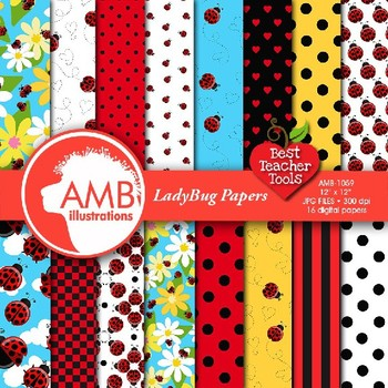 Ladybug Digital Papers, Insect Digital Backgrounds, AMB-1059