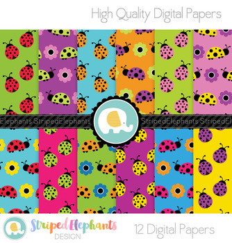 Ladybug Digital Papers Rainbow