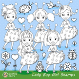 Ladybug Digital Stamp Clipart, Spring Stamps, Cute PNG Graphics, Ladybird