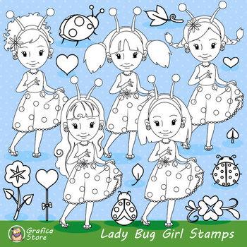 Ladybug Digital Stamp Clipart Spring Stamps Cute PNG Graphics