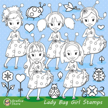 Ladybug Digital Stamp Clipart, Spring Stamps, Cute PNG Gra