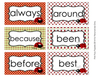 Ladybug Dolch 2nd Grade Sight Wall Words