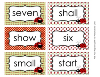 Ladybug Dolch 3rd Grade Sight Wall Words