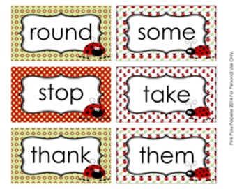 Ladybug Dolch 1st Grade Sight Wall Words