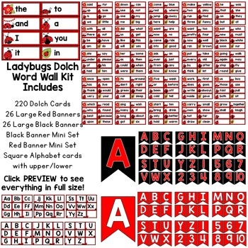 Ladybug Dolch Word Wall Kit - 220 Cards, Labels, & Banners - Red & Black Edition
