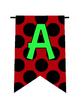 Ladybug Dots Alphabet/Number/Characters Pennants Bunting (Red/Black)