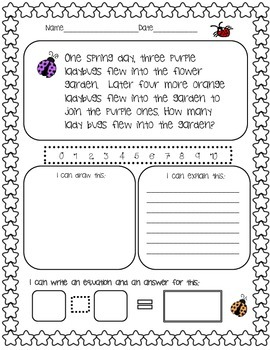 Ladybug Early Learners Story Problem: Addition