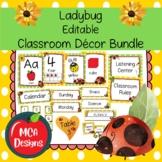 Ladybug Editable Classroom Decor Bundle