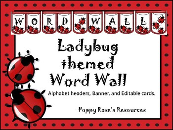 Ladybug  Word Wall Banner and Headers