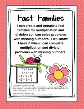 Ladybug Fact Family-Multiplication and Division Packet