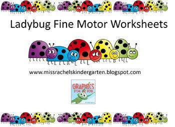 Ladybug Fine Motor Worksheets, Learning Center, Writing Ce
