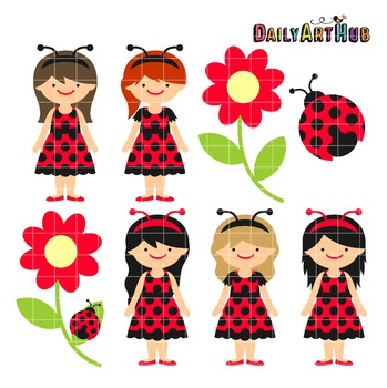 Ladybug Girls Clip Art - Great for Art Class Projects!