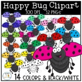 Happy Bug Clipart | Smiling Ladybugs | Flying Insect Images