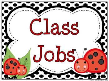 Ladybug Helpers Classroom Jobs Display & Clip Chart