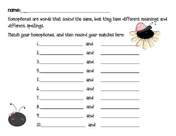 Ladybug Homophone Match {FREEBIE}