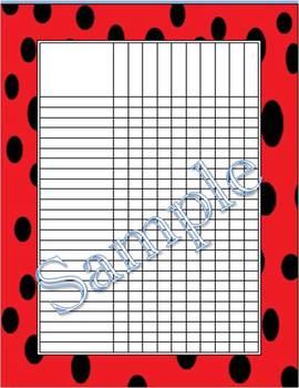 Ladybug Incentive Charts/Grade Charts