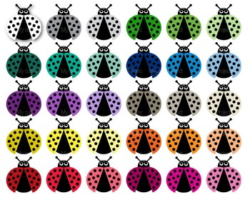 Ladybug Kawaii  - Clipart - 30 colors - 30 PNG files - Scrapbooking clipart