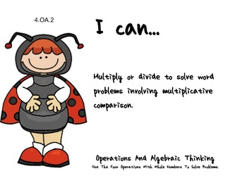 Ladybug Kids Theme 4th grade math Common Core Posters fourth Grade Standards