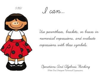 Ladybug Kids Theme 5th grade math Common Core Posters Fifth Grade Standards
