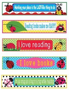 Ladybug Decor EDITABLE Bookmarks, Shelf Markers or Desk Name Plates