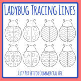 Ladybug / Ladybird / Lady Bug Insect Dashed or Dotted Tracing Clip Art Set