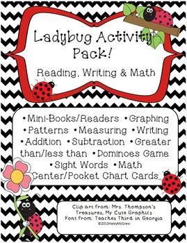Ladybug Learning Activity Set Pack Reading Writing & Math