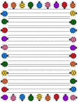 Ladybug Lined Writing Paper Set Pack