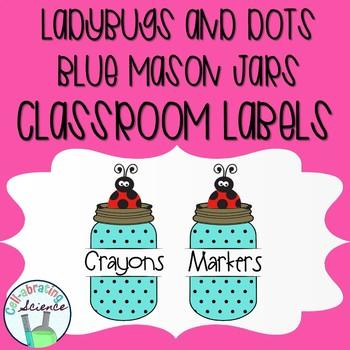 Ladybug Mason Jar Classroom Labels -- Blue & Black Dots