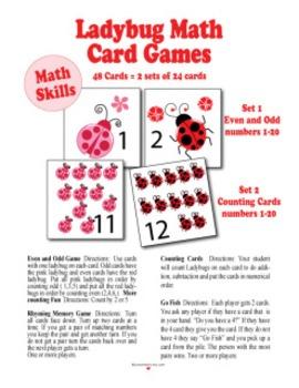 Ladybug Math Card Games pdf files